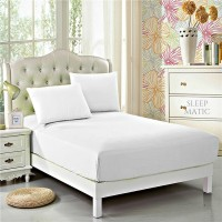 Sleep Matic Fitted Queen Size Mattress Protector(White)
