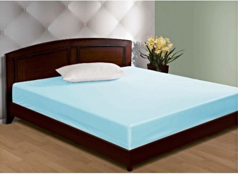 GD HOME DECOR Zippered Single Size Mattress Protector(Blue)