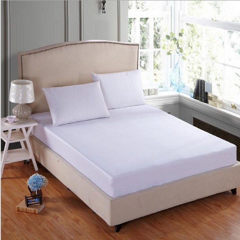 L'Exotique Fitted Queen Size Mattress Protector(White)