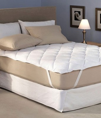 Ala Mode Creations Elastic Strap Single Size Mattress Protector(White)