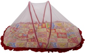 Mee Mee Printed Mattress Set With Mosquito Net & Pillow(Red)