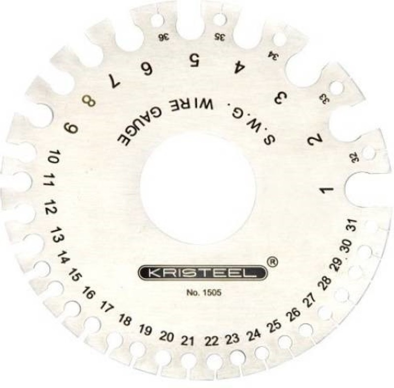 KRISTEEL S.W.G Round Wire Gauge (Pack Of 25 Pcs) 15051 Multiple Unit Measuring Wheel