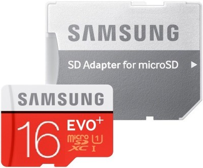 SAMSUNG Evo Plus With Adapter 16 GB MicroSD Card Class 10 80 MB/s Memory Card