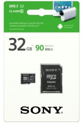 Sony 32GB MicroSDHC Class 10 (90MB/s) UHS-I Memory Card (With Adapter)
