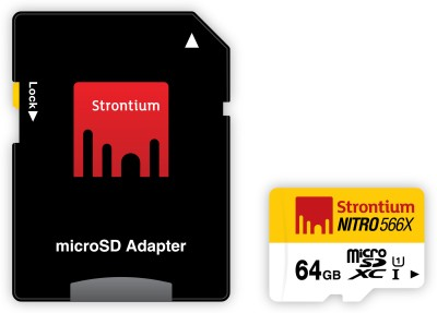 Strontium Nitro 566x 64GB Class 10 UHS-1 (85MB/s) MicroSDXC Memory Card (With Adapter)