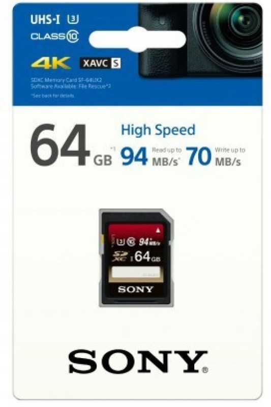 Sony SF-64UX2 64 GB SDHC Class 10 94 MB/s  Memory Card