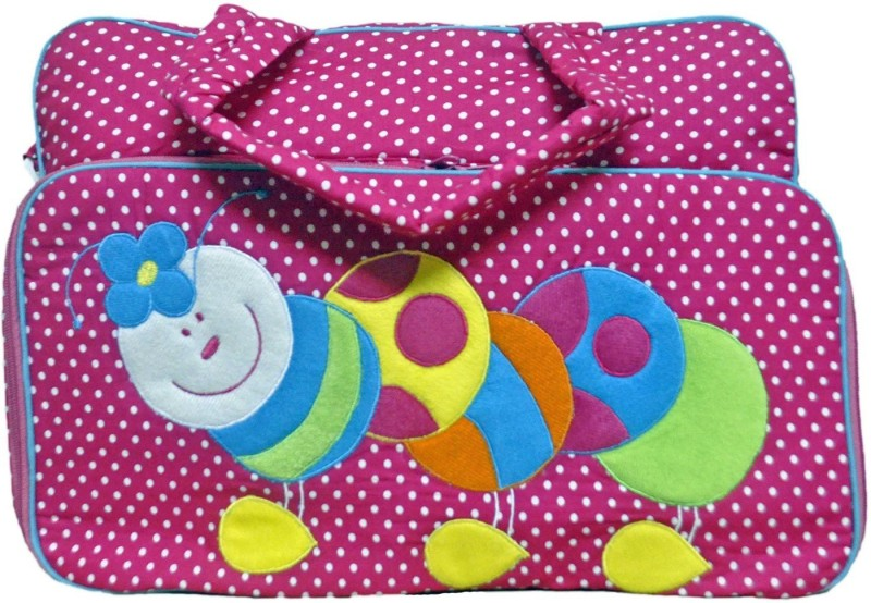 Mommas Baby Stylish Mother Bag/Diaper Bag- Catepiller Polka(Pack of 1, PINK)