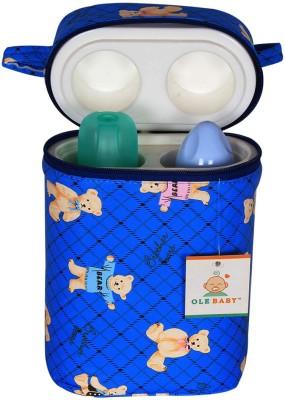 Ole Baby Teddy Checks Print Double Portable Infant Feeding Food Bottle Thermal WarmerHolder (Upto 250ml each)