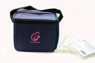 Nenesupply Bottle Cooler Bag and Ice Packs for Breastmilk Storage(Pack of 1, Black)