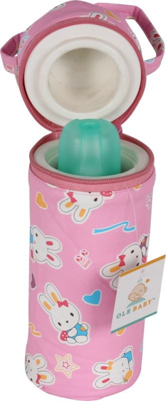 Ole Baby Bunny Print Single Portable Infant Feeding Milk Food Bottle Thermal Warmer Bag Storage Holder (Upto 250ml)(Pack of 1, Pink)