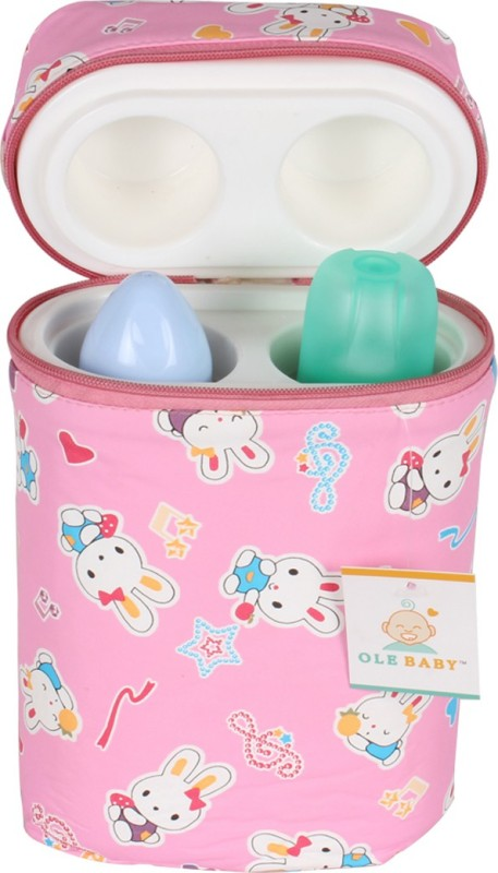 Ole Baby Bunny Print Double Portable Infant Feeding Milk Food Bottle Thermal Warmer Bag Storage Holder (Upto 250ml)(Pack of 1, Pink)