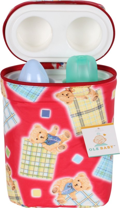 Ole Baby Teddy Checks Print Double Portable Infant Feeding Milk Food Bottle Thermal Warmer Bag Storage Holder (Upto 250ml)(Pack of 1, Red)