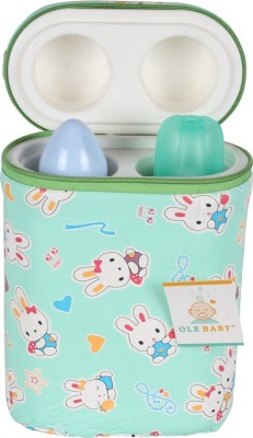 Ole Baby Bunny Print Double Portable Infant Feeding Milk Food Bottle Thermal Warmer Bag Storage Holder (Upto 250ml)