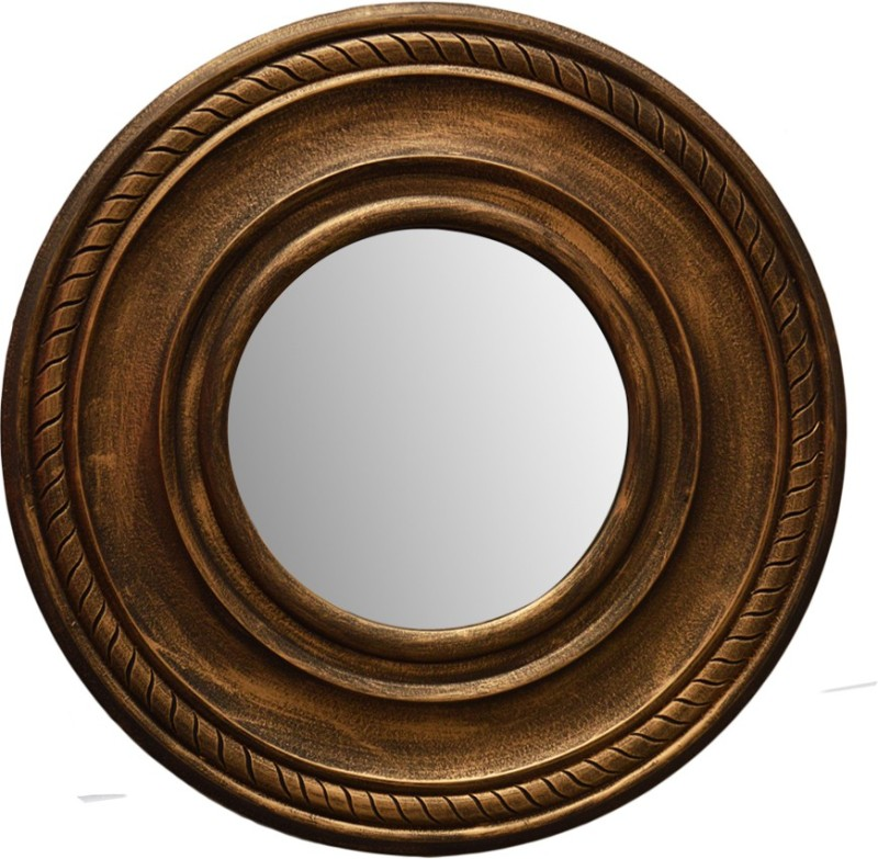 Hallmarc Mdf Designer Brown Mirror (Round) - 24x24 Bathroom Mirror(Round)