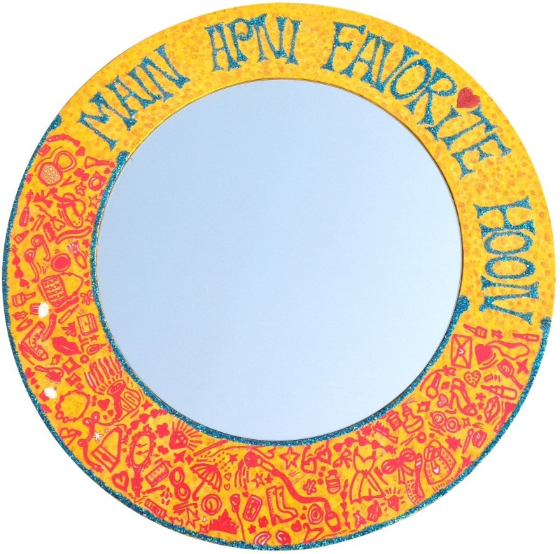 Baar Baar Dekho MAFH01 Decorative Mirror(Round Finish : Textured Glossy finish)