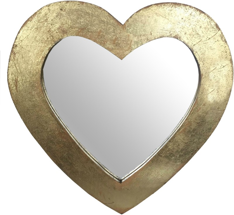 Salt & Grey Interiors SG106002 Decorative Mirror(Heart Finish : Antique Golden Finish)