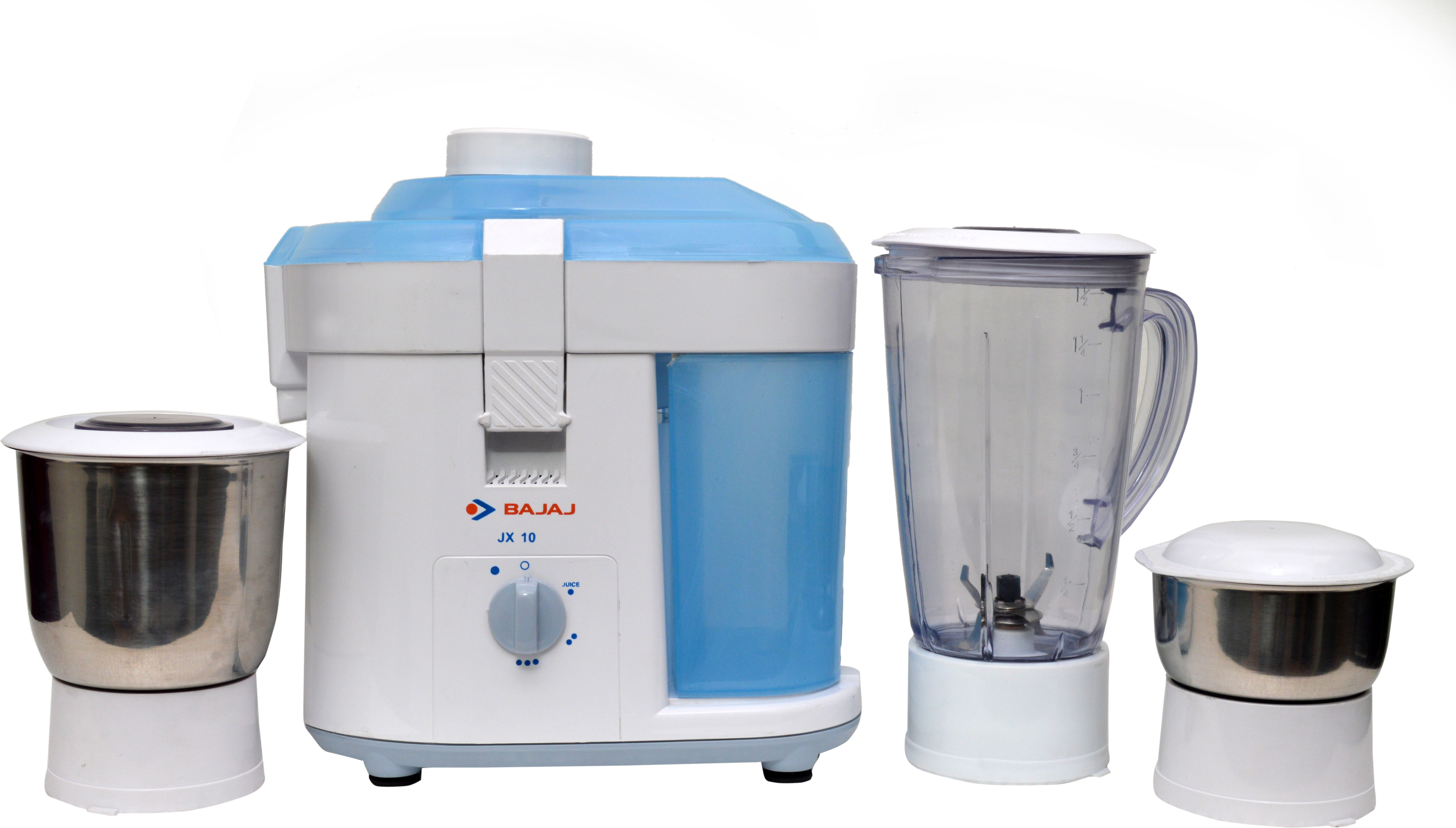 Bajaj JX 10 450 W Juicer Mixer Grinder(White, Blue, 3 Jars)