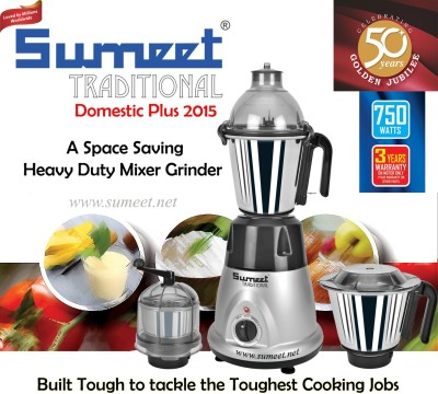 Sumeet Domestic Plus 2015 750W Mixer Grinder
