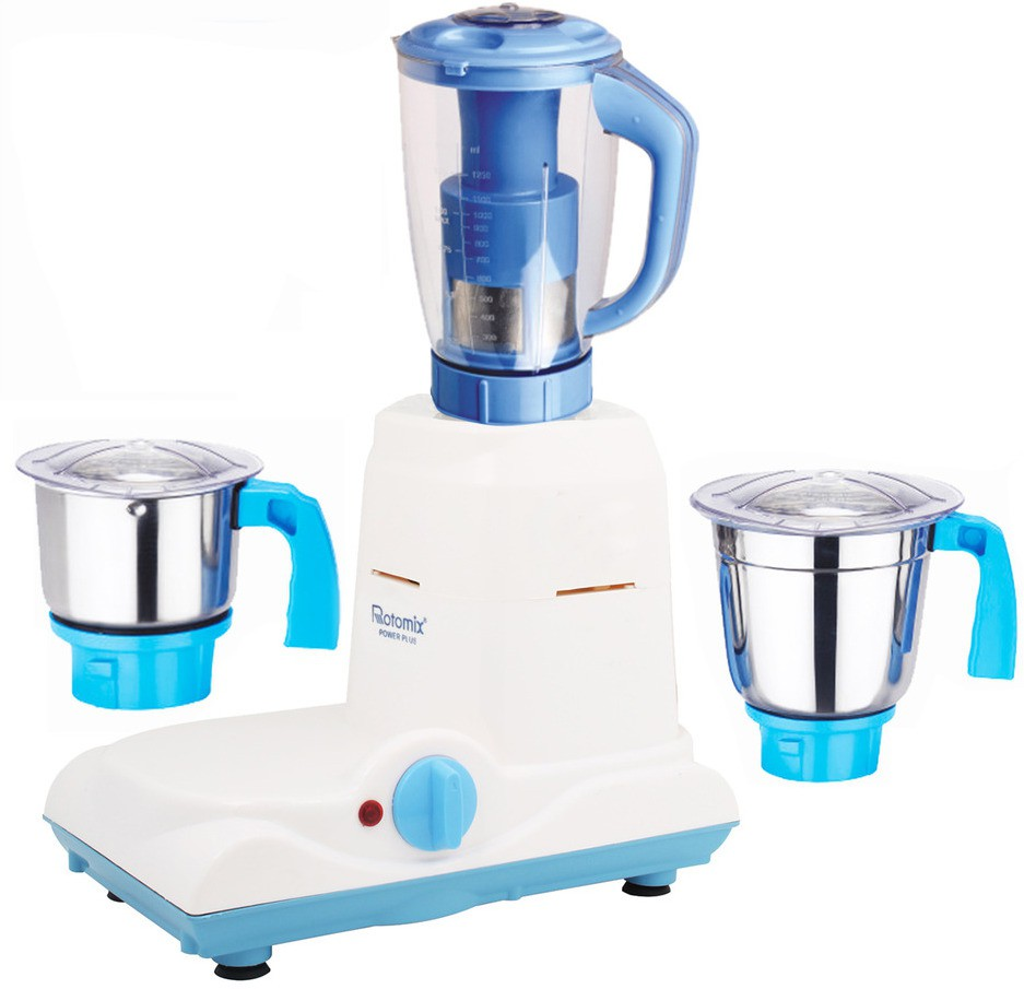 Rotomix Latest Jar attachments of chutney medium & juicer jarType-586 600 W Juicer Mixer Grinder(Multicolor, 3 Jars)