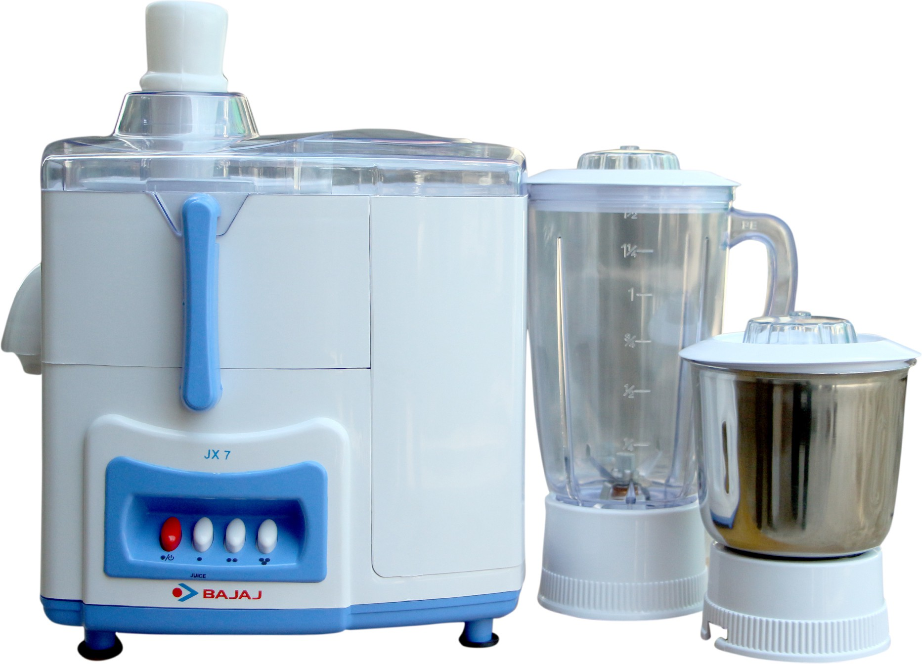 Bajaj JX 7 500 W Juicer Mixer Grinder(White, Blue, 2 Jars)