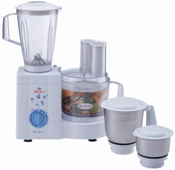 Bajaj Master Chef Food Processor 600 W Juicer Mixer Grinder(White, 4 Jars)