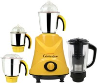 Celebration ABS Body MG16-BY903 600 W Mixer Grinder(Yellow, 4 Jars)