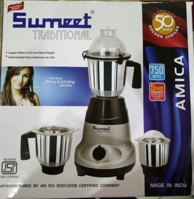 Sumeet Traditional Amica 750W Mixer Grinder (3 Jars)