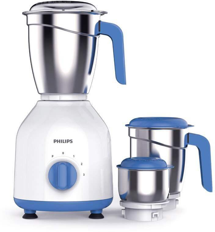 Philips HL7555/00 600 W Mixer Grinder(White, Blue, 3 Jars)