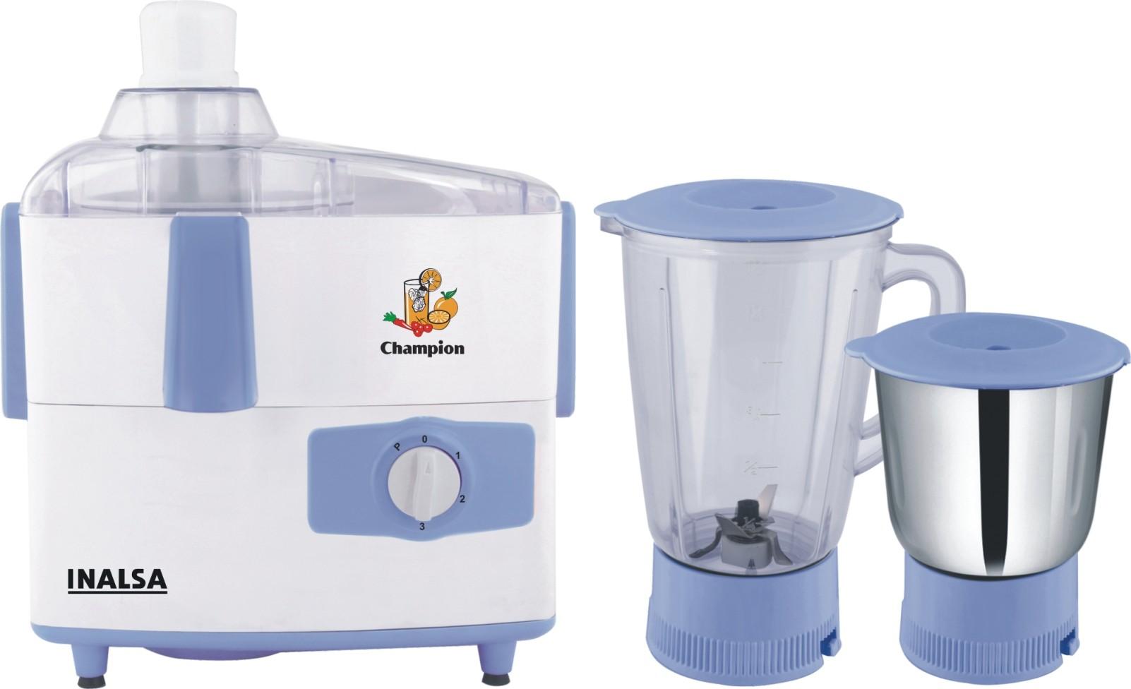 Inalsa Champion JMG 450 W Juicer Mixer Grinder(White, Blue, 2 Jars)