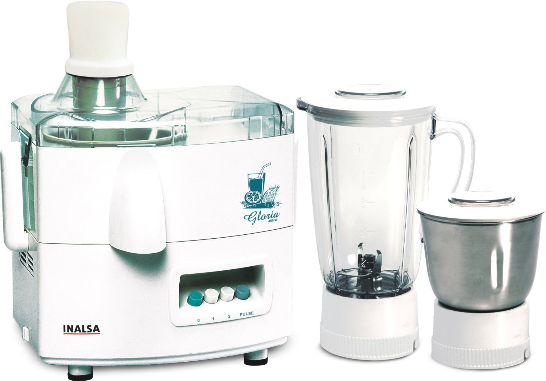 Inalsa Gloria 450 W Juicer Mixer Grinder(White, 3 Jars)