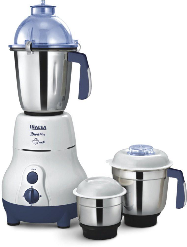 Inalsa Diva Plus 750 W Mixer Grinder(White, 3 Jars)