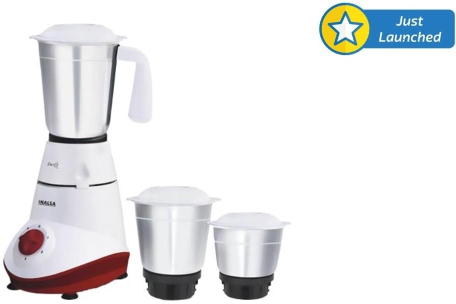 Inalsa SWIFT 500 W Mixer Grinder(White, 3 Jars)