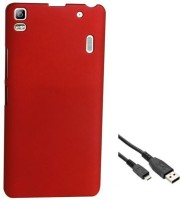 Tidel Ultra Thin And Stylish Rubberized Plastic Back Cover For Lenovo K3 Note With USB Data Cable Accessory Combo(Red) best price on Flipkart @ Rs. 289