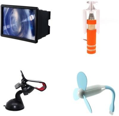 Bigkik MINI SELFIE STICK, USB FAN, MOBILE HOLDER, 3D F2 HD PHONE SCREEN Combo Set