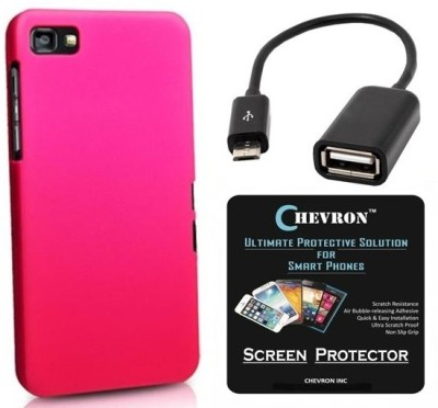 Chevron Premium Back Cover Case With Hd Screen Guard & Micro Otg Cable For Blackberry Z3 Accessory Combo