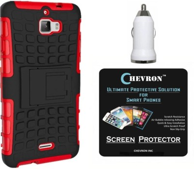 Chevron Hybrid Military Grade Armor Kick Stand Shock Proof Case for Coolpad Dazen 1 with HD Screen Guard & USB Car Charger Accessory Combo