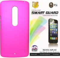 FCS FCS Rubberized Hard Back Cover Case with Anti Shock Screen Protector For Motorola Moto X Play Accessory Combo(Pink)