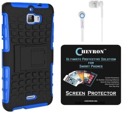 Chevron Chevron Tough Hybrid Armor Back Cover Case with Kickstand for Coolpad Dazen 1 with HD Screen Guard & Chevron 3.5mm Blue Stereo Earphones (Blue) Accessory Combo
