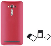 Chevron Rubberized Matte Hard Back Cover Case for Asus Zenfone Selfie 2 ZD551KL with Multi Sim Adapter (Red) Accessory Combo