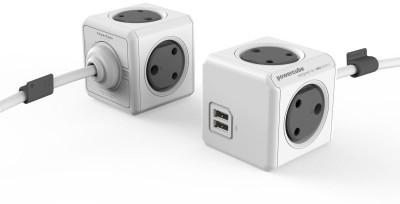 PowerCube USB:2.1A, 5V 2 USB ports 3.0m cable 4 Socket Surge Protector(Grey, White)