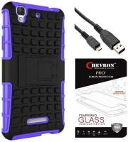 Chevron Tough Rugged Dual Layer Protective Back Cover Case with Kickstand for YU Yureka Plus with Pro+ Tempered Glass & Micro USB Data Cable (Purple)