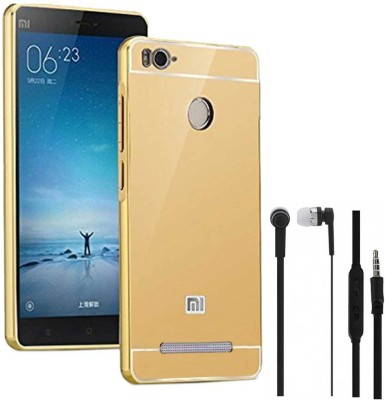 TBZ Cover Accessory Combo for Metal Bumper Acrylic Mirror Back Cover Case for Xiaomi Redmi 3s Prime with Earphone