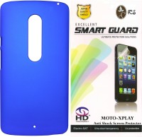 FCS FCS Rubberized Hard Back Cover Case with Anti Shock Screen Protector For Motorola Moto X Play Accessory Combo(Blue)