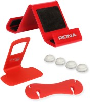 Riona 4 in 1 - Desk Mobile Stand + Wall Mobile Holder + Cable Organizer + Scratch Guard Pads (A5SRC) Accessory Combo(Red) best price on Flipkart @ Rs. 349
