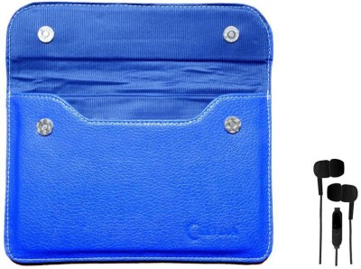 Chevron Pouch Cover Case For Vox VOX 3G 7inch V102 Dual SIM Tablet With 3.5mm Stereo Earphones (Samsung Compatible) Combo Set (Blue)
