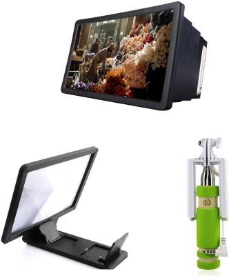 Bigkik MINI SELFIE STICK, 3D PHONE SCRREN, 3D F2 HD PHONE SCRREN Combo Set