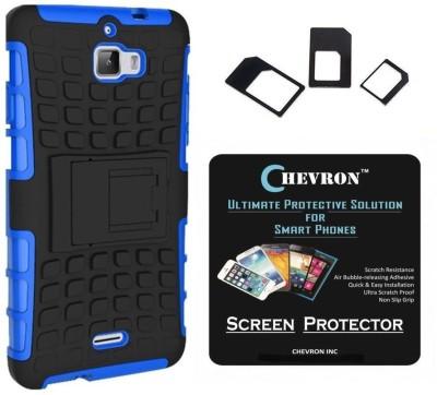 Chevron Chevron Tough Hybrid Armor Back Cover Case with Kickstand for Coolpad Dazen 1 with HD Screen Guard & Multi Sim Adapter (Blue) Accessory Combo