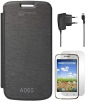 DMG Premium No Back Replace Flip Book Diary Case Cover for Micromax Bolt A065 (Black), Wall Charger, Matte Screen Accessory Combo(Black) best price on Flipkart @ Rs. 1294