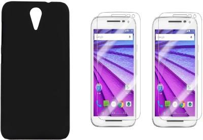 iCopertina HTC Desire 620G Back Cover Black and 2 HD Screen Gaurds Accessory Combo