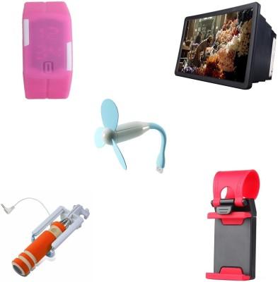 Bigkik MINI SELFIE STICK+ PORTABLE LAMP+ STREERING MOBILE STAND+ 3D F2 HD PHONE SCREEN+ LED WATCH Combo Set